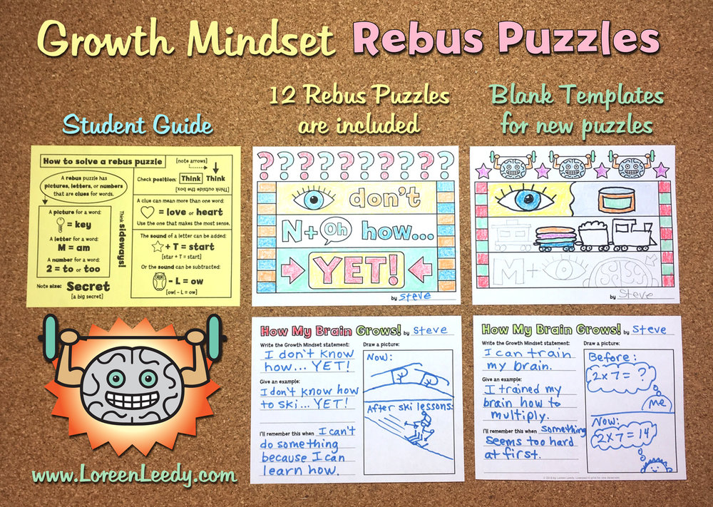 "Growth Mindset Rebus Puzzles give kids a fun challenge as they ""think sideways"" to solve them."