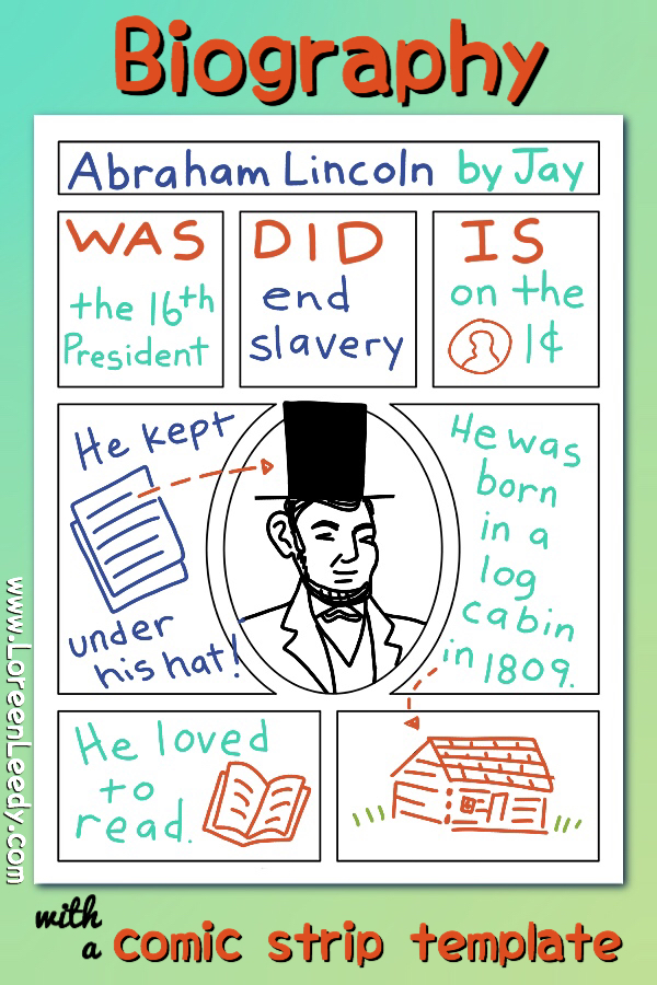 Writing a biography of Abraham Lincoln using a comic strip template