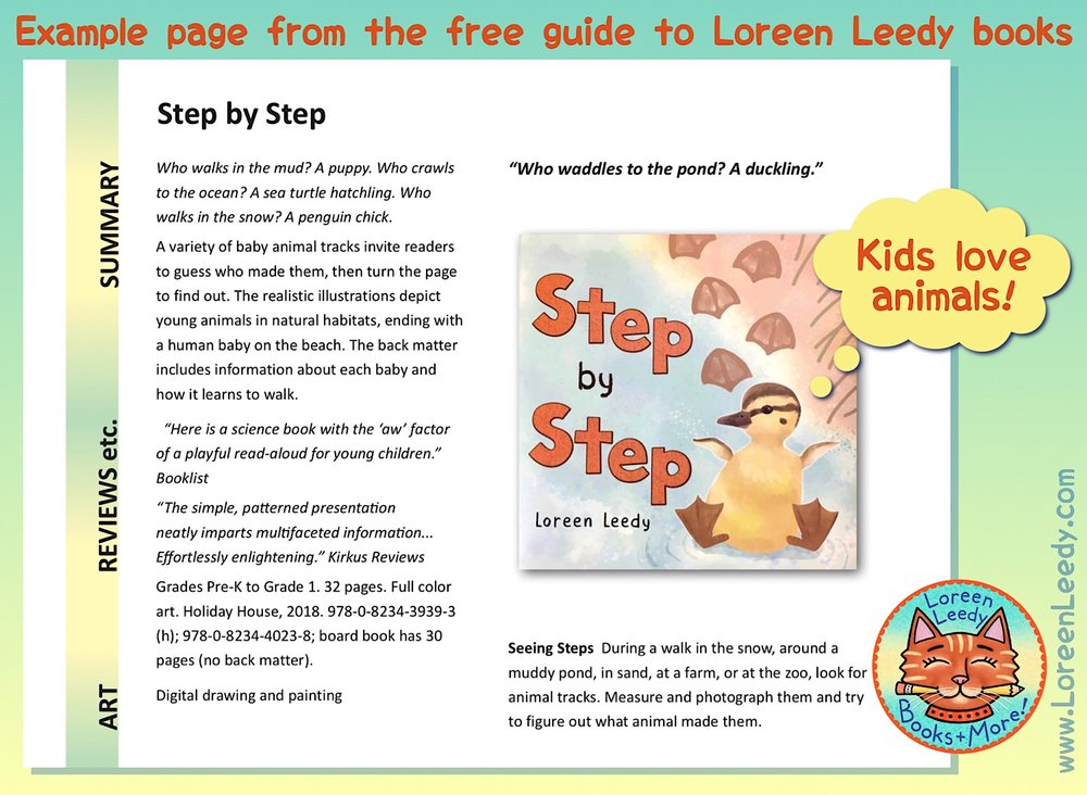 An example from the free  Guide to Loreen Leedy Books , showing the page for   Step by Step