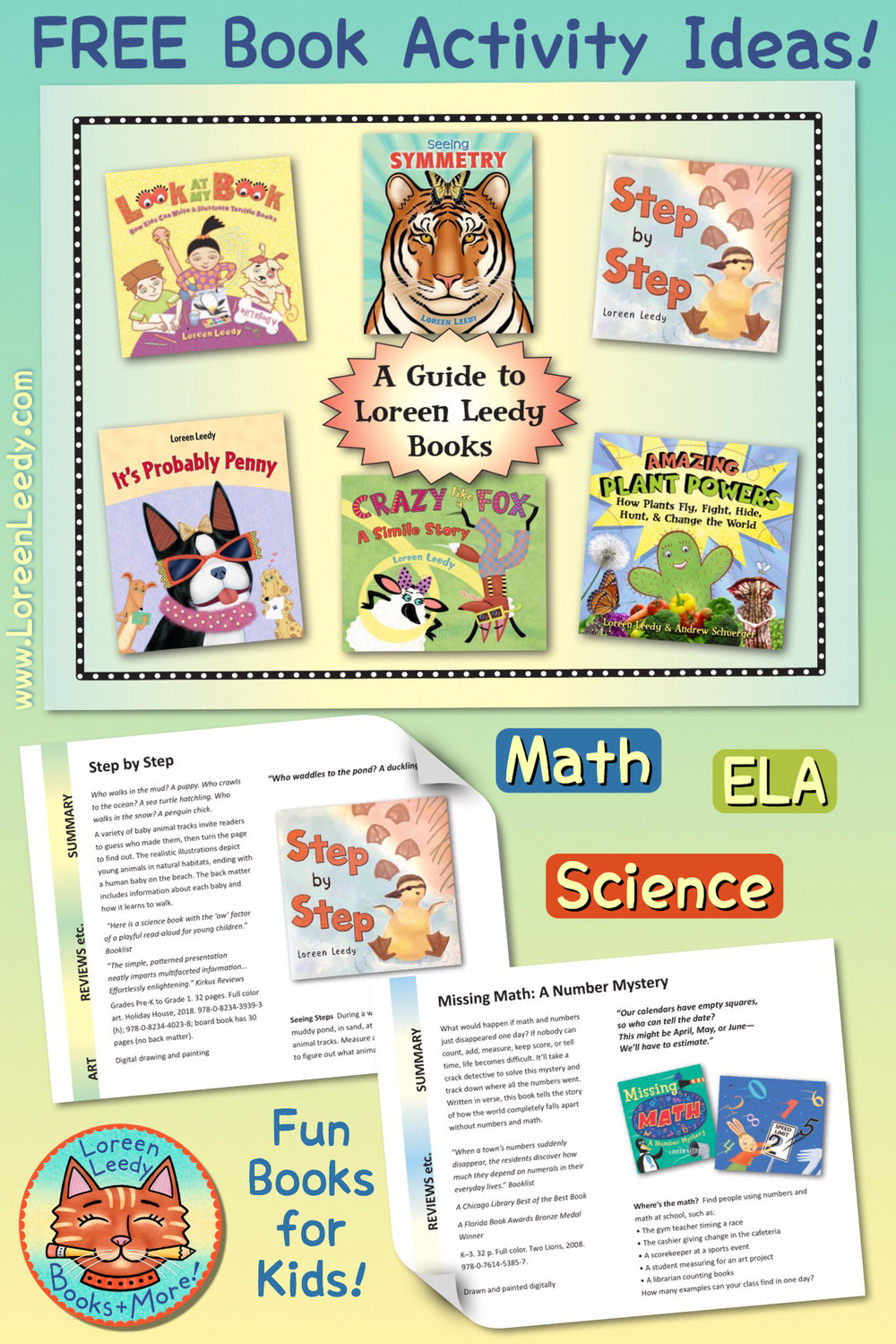 Free guide to children's books with math, science, and language arts content by Loreen Leedy