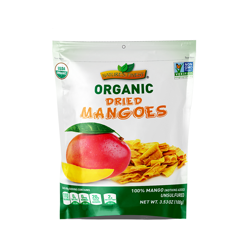 Organic Dried Mango Bites   Nature's Finest Organic Dried Mangoes are a perfect balanced of taste and moisture, with just one ingredient—Organic Mangoes.