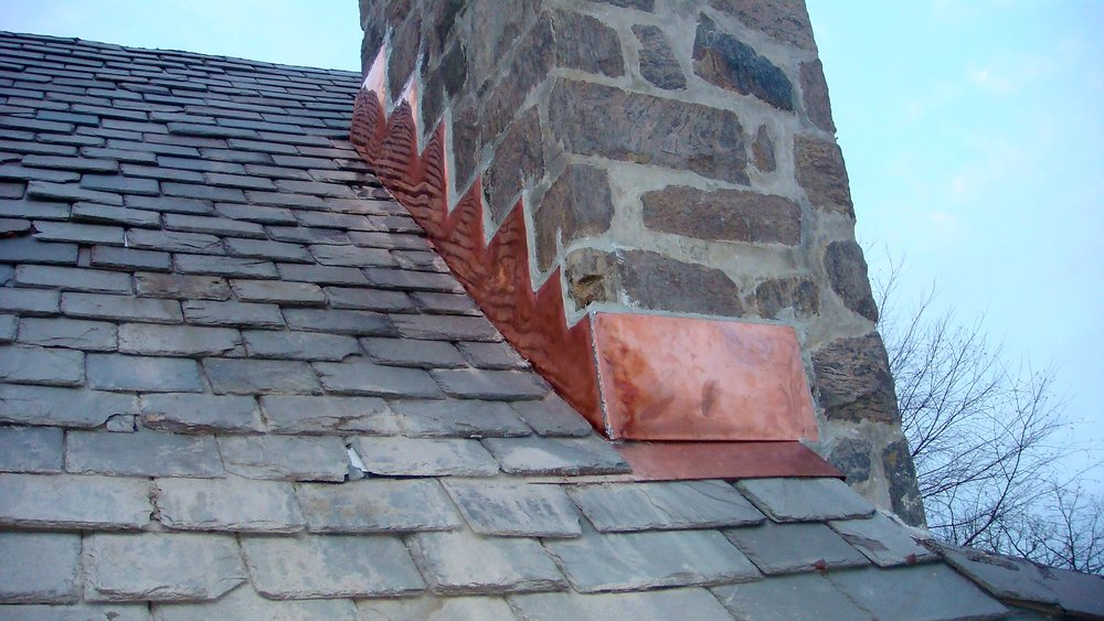 Chimney Copper Flashing Steps
