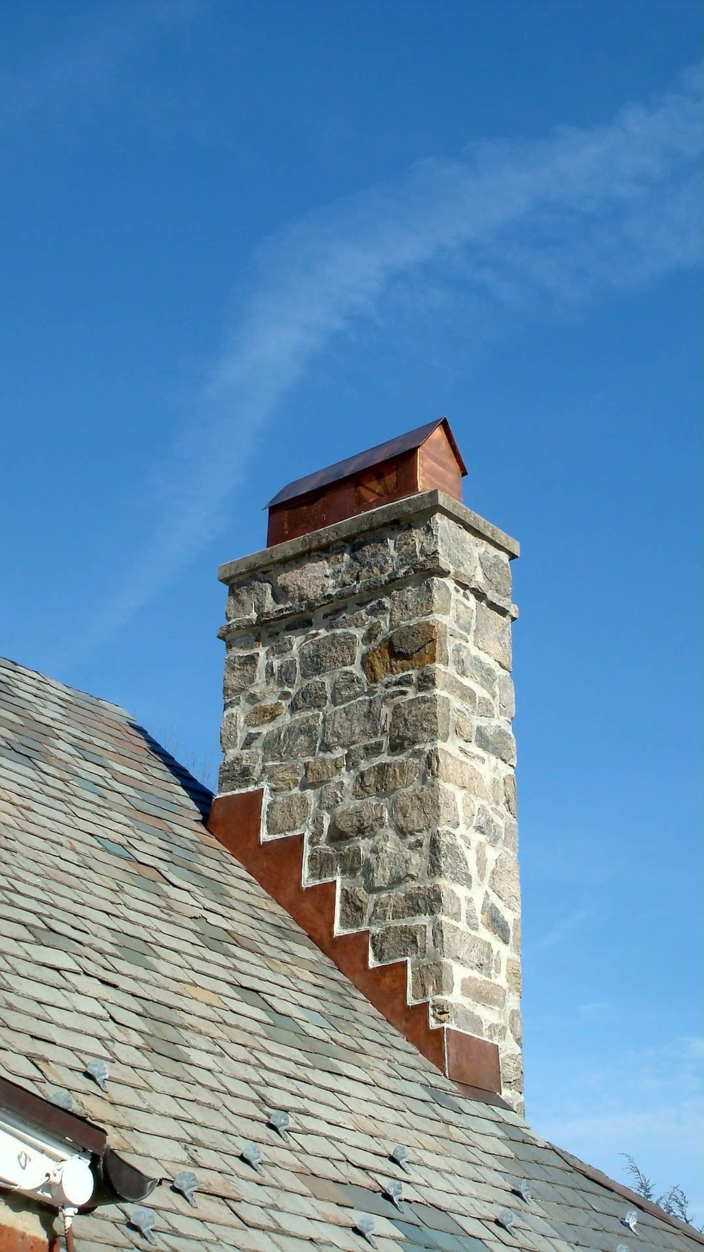 Chimney Copper Flashing Head and Steps