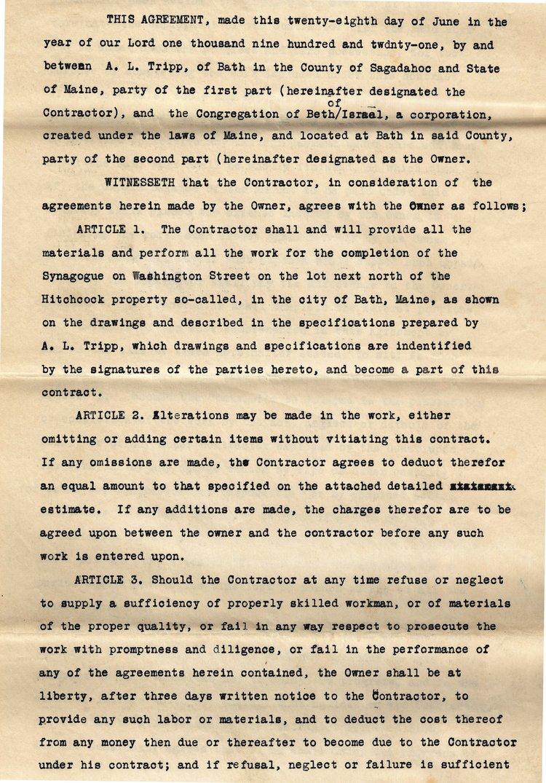 Contractor Agreement 1921 Bath Jewish History
