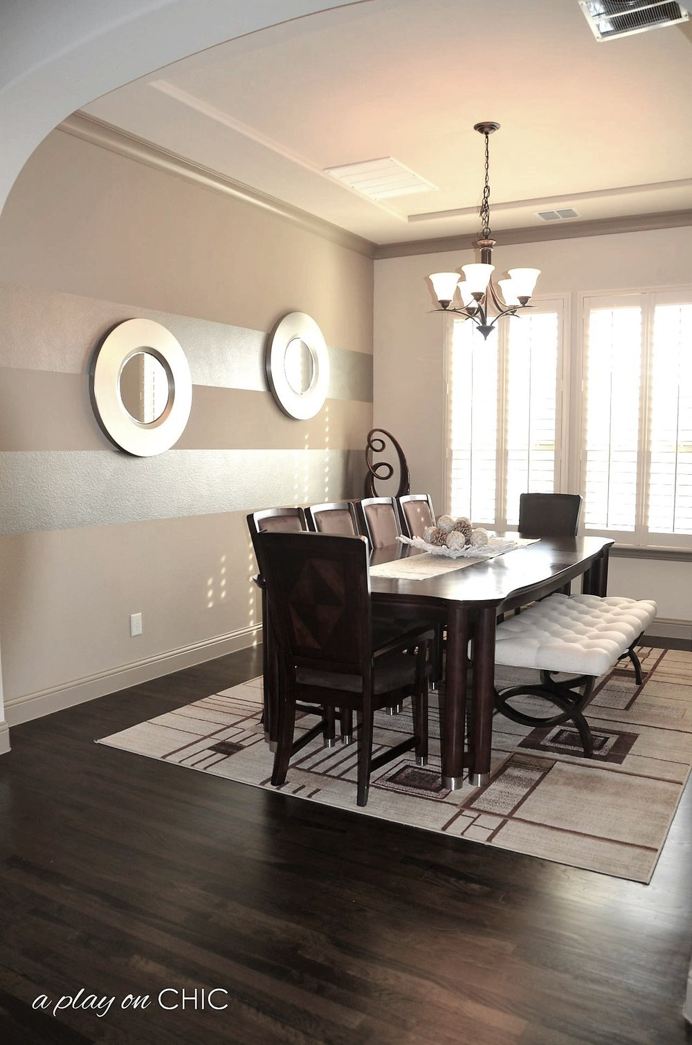 Dining-Room-Metallic-Double-Mirrors www.aplayonchic.com