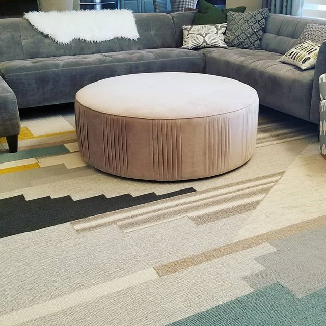 """New ottoman for the living room!!! I love ittttt!!! Dusty blush pleated ottoman from @westelm !  Marked down to $179.99!!! At 48"""" in diameter, it is a steal!! 🤗 . . . . . #westelm #mywestelm #roundottoman #ottomans #homefurnishings #livingroomdecor #livingroomfurniture #interiorinspo #furnitureideas #interiorinspiration #interiordesignblogger #colorfuldecor #colorfulhome #coloryourhome #furnituredeals #interior_design #homedetails #homeideas #footrest"""