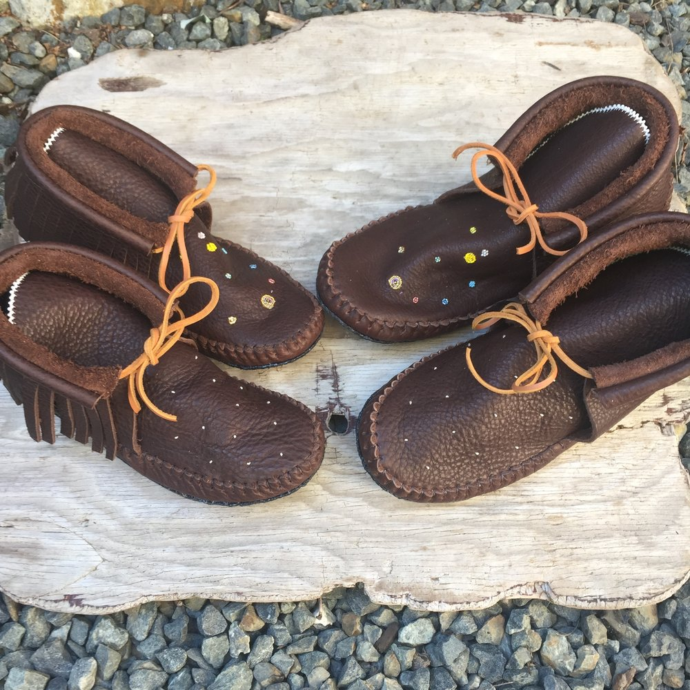 Wedding Moccasins Mocha with Planet Alignment Beading