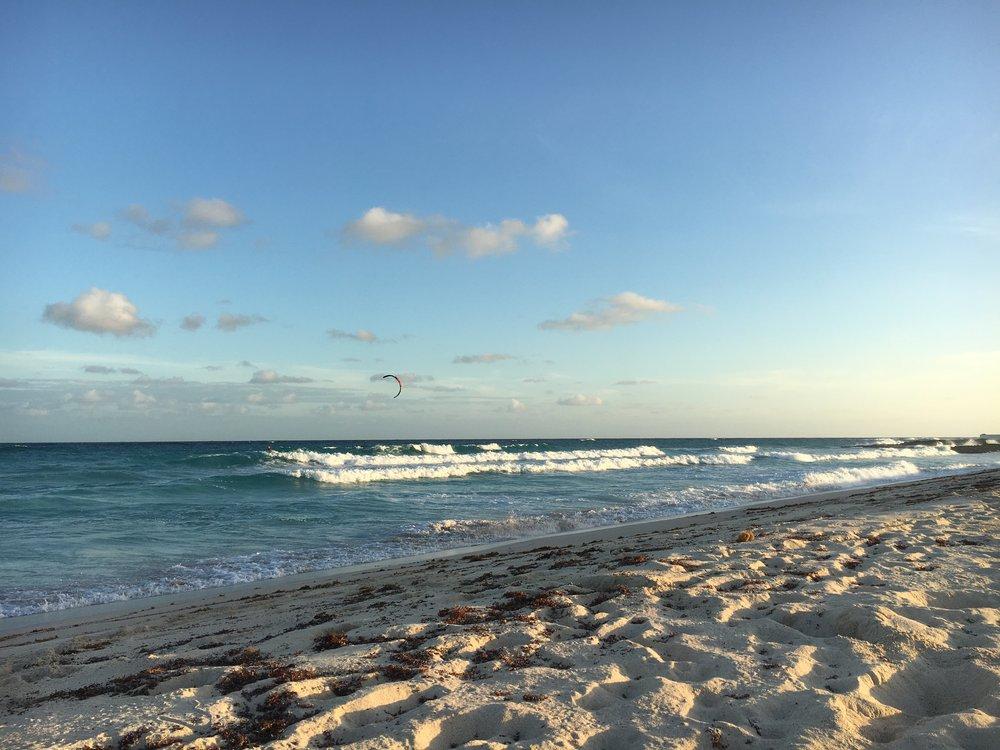 Kitesurfing on Long Beach, Barbados