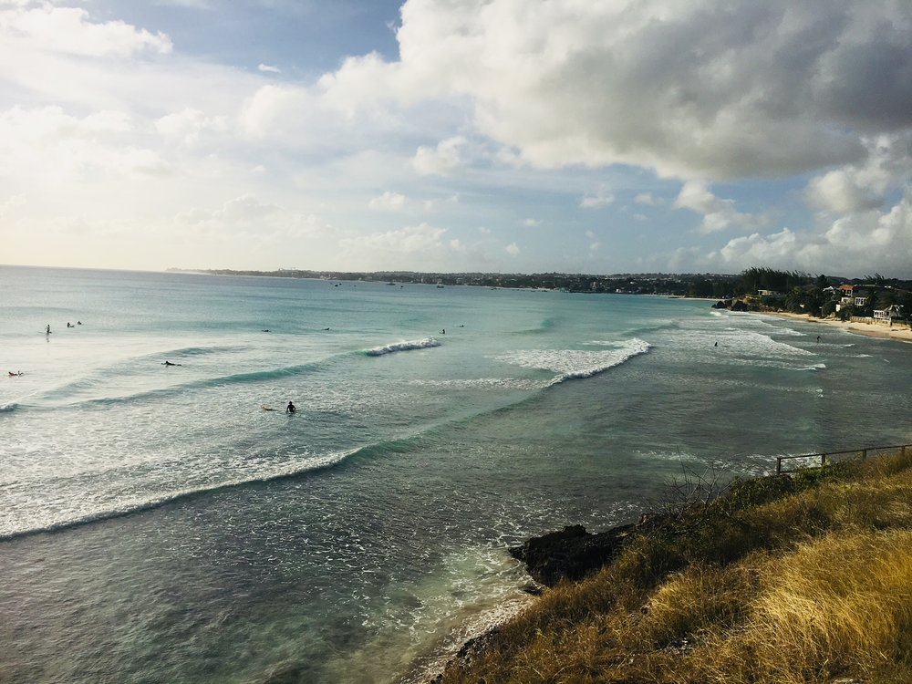 Surfing in Freights Bay, Barbados