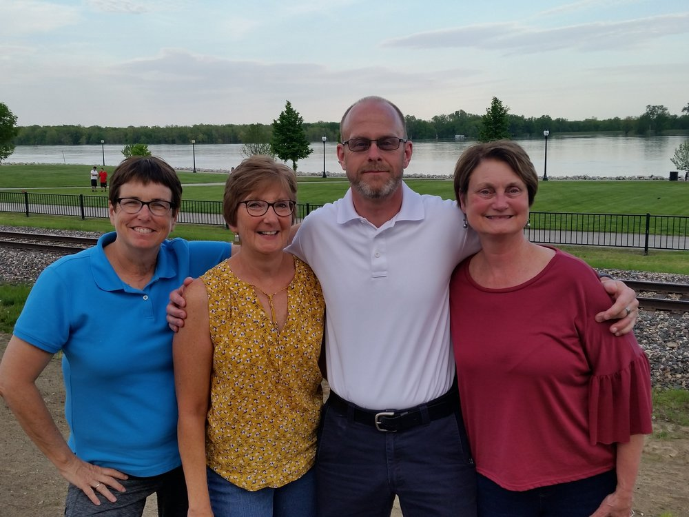 Left to Right: Julie Evans, Secretary/RAGBRAI Coordinator; Paula Durham, Vice President; Phil Sargent, Treasurer; Diana Tank, President. Race Director, not pictured, Greg Harper.