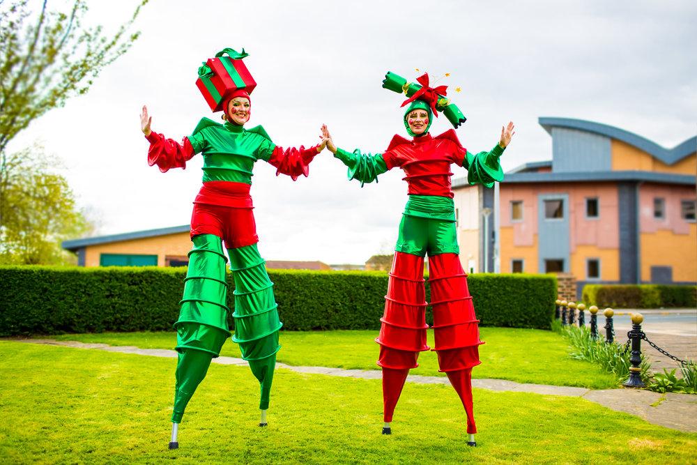 The Christmas Stilt Walkers Outside.jpg