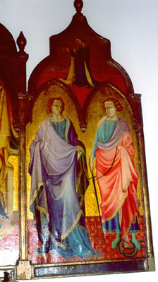 The right panel shows SS. Jude Thaddeus the apostle and Proculus the soldier. The Virgin of the Annunciation is above.