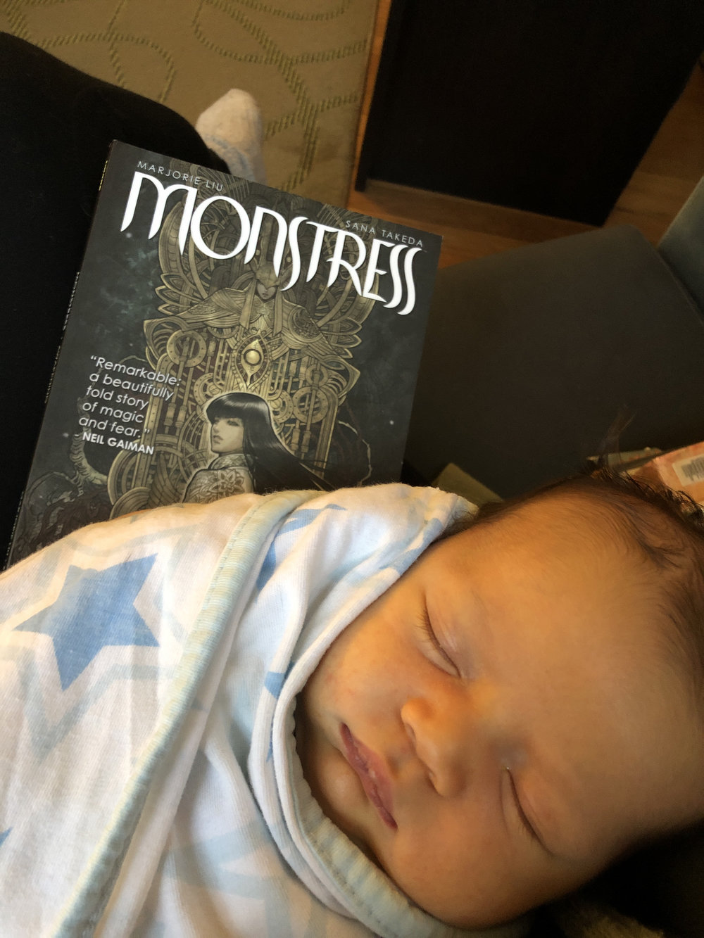 Client's baby P and I reading  Monstress .