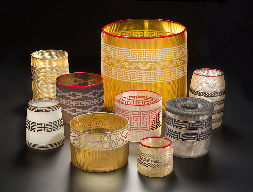 Preston Singletary (American Tlingit, born 1963). Wealth – Baskets,  2016.Blown and sand-carved glass;18 × 17 3/4 in. Courtesy of the artist. Image courtesy of Russell Johnson.