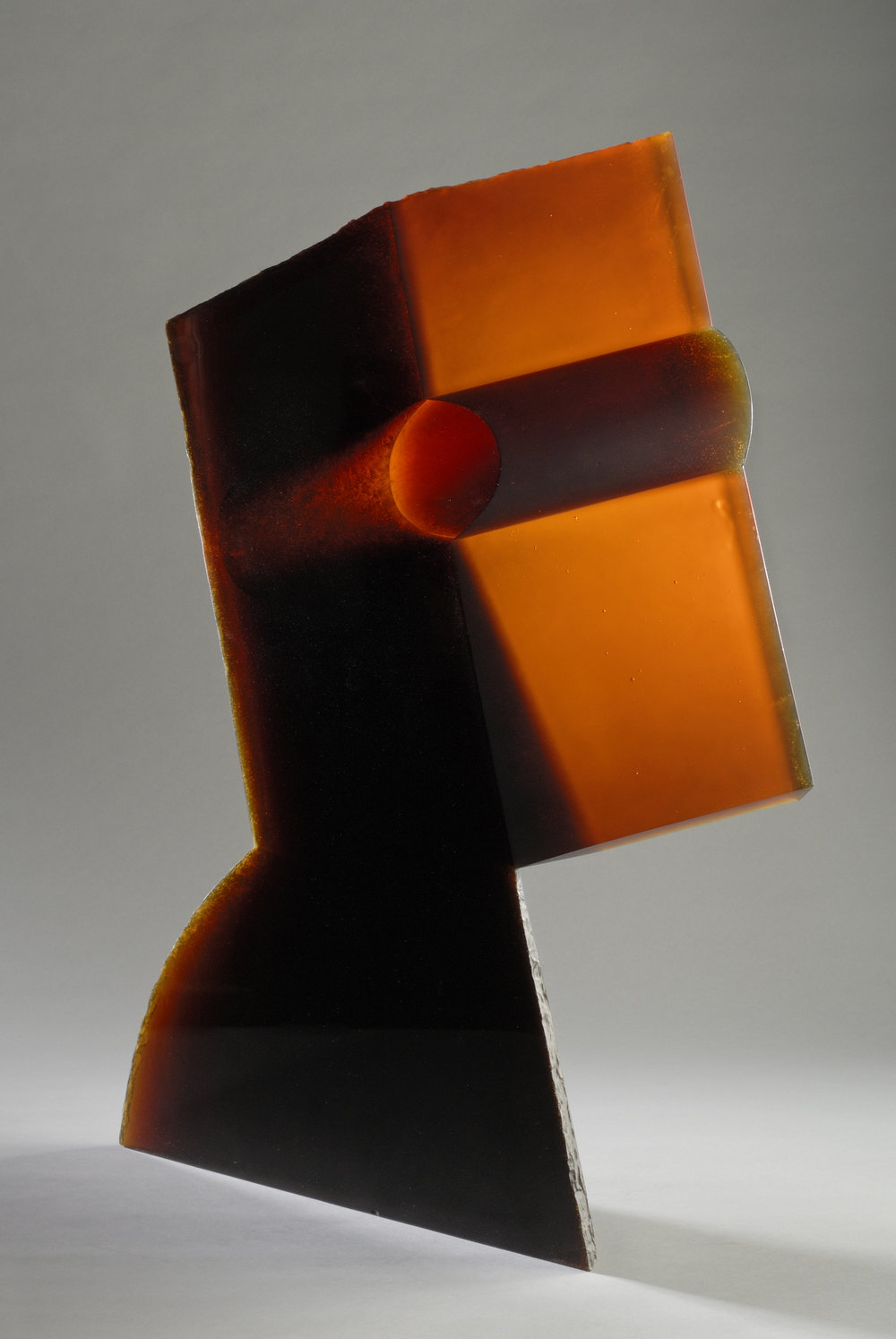 Jaroslava Brychtová (Czech, born 1924) and Stanislav Libenský (Czech, 1921 - 2002).  The Second Queen,  1991-1992. Mold-melted glass, cut and ground; 32 1/8 x 25 1/2 in. Collection of Museum of Glass, Tacoma, Washington, gift of Lisa and Dudley B. Anderson. Photo by Duncan Price.