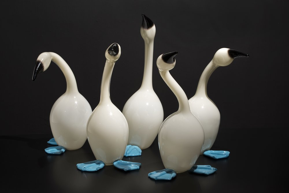 Erich Woll (American, born 1970).  Mistakes Will Be Made (Blue-Footed Boobies) , 2014. Hot-sculpted glass. Collection of Museum of Glass, Tacoma, Washington, Gift of the artist. Photo courtesy of the artist.