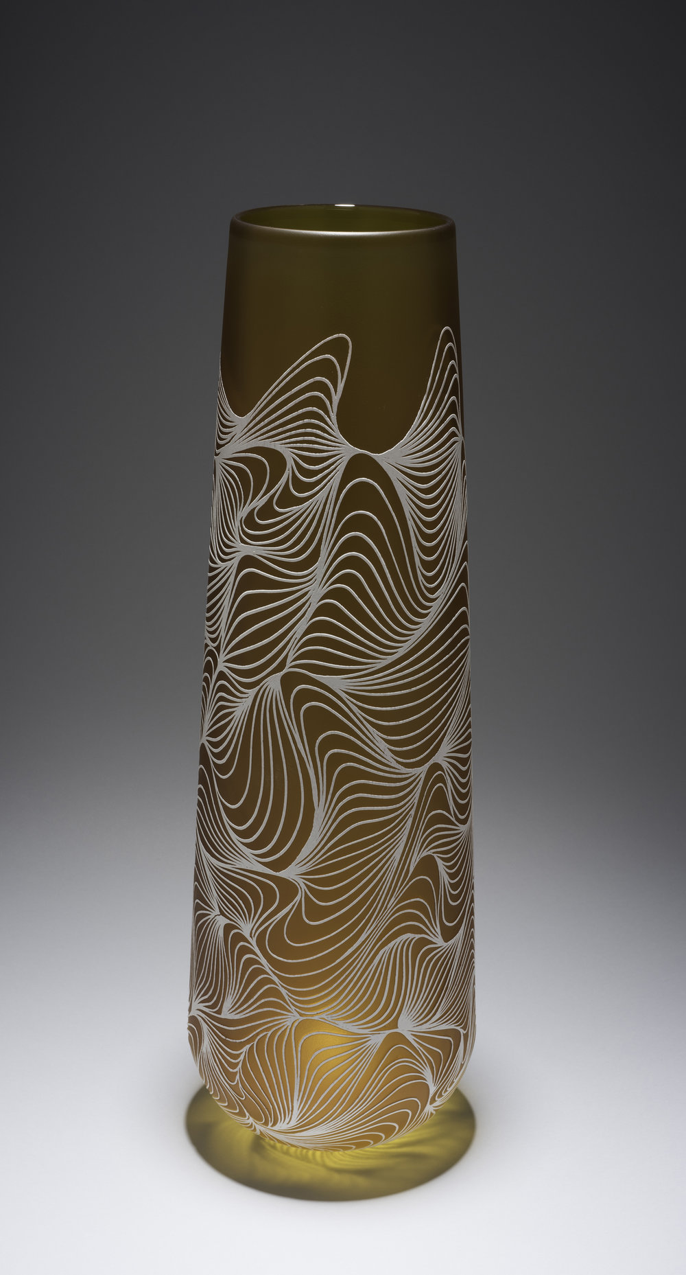 Armelle Bouchet O'Neill (French, born 1980).  Kasvu,  Made at the Museum in 2013. Blown, etched, and sand-carved glass; 21 1/2 x 6 x 8 3/4 in. Collection of Museum of Glass, Tacoma, Washington, gift of the artist. Photo by Duncan Price.