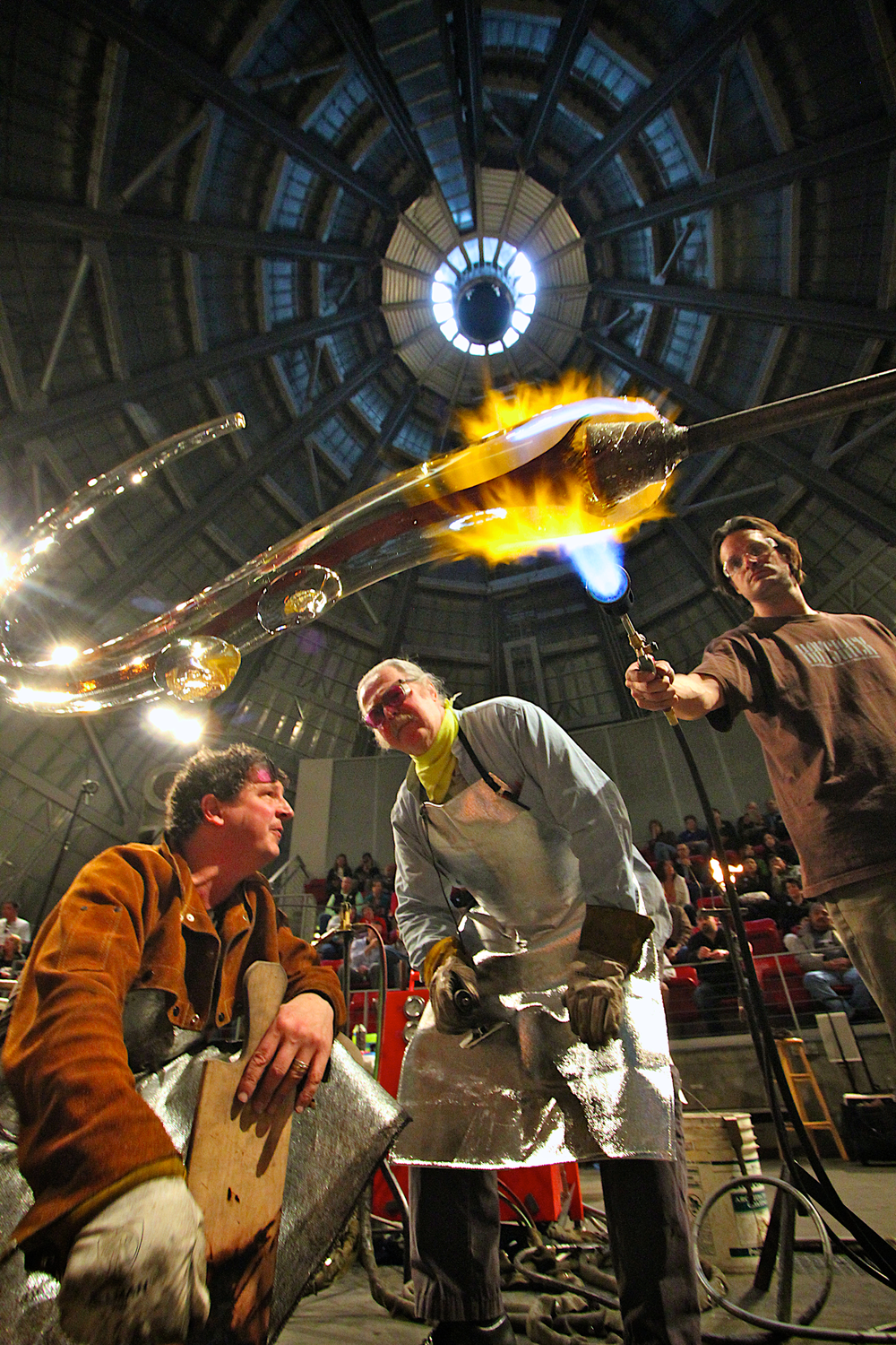 Albert Paley and Martin Blank working in the MOG Hot Shop. Photo by Chuck Lysen.