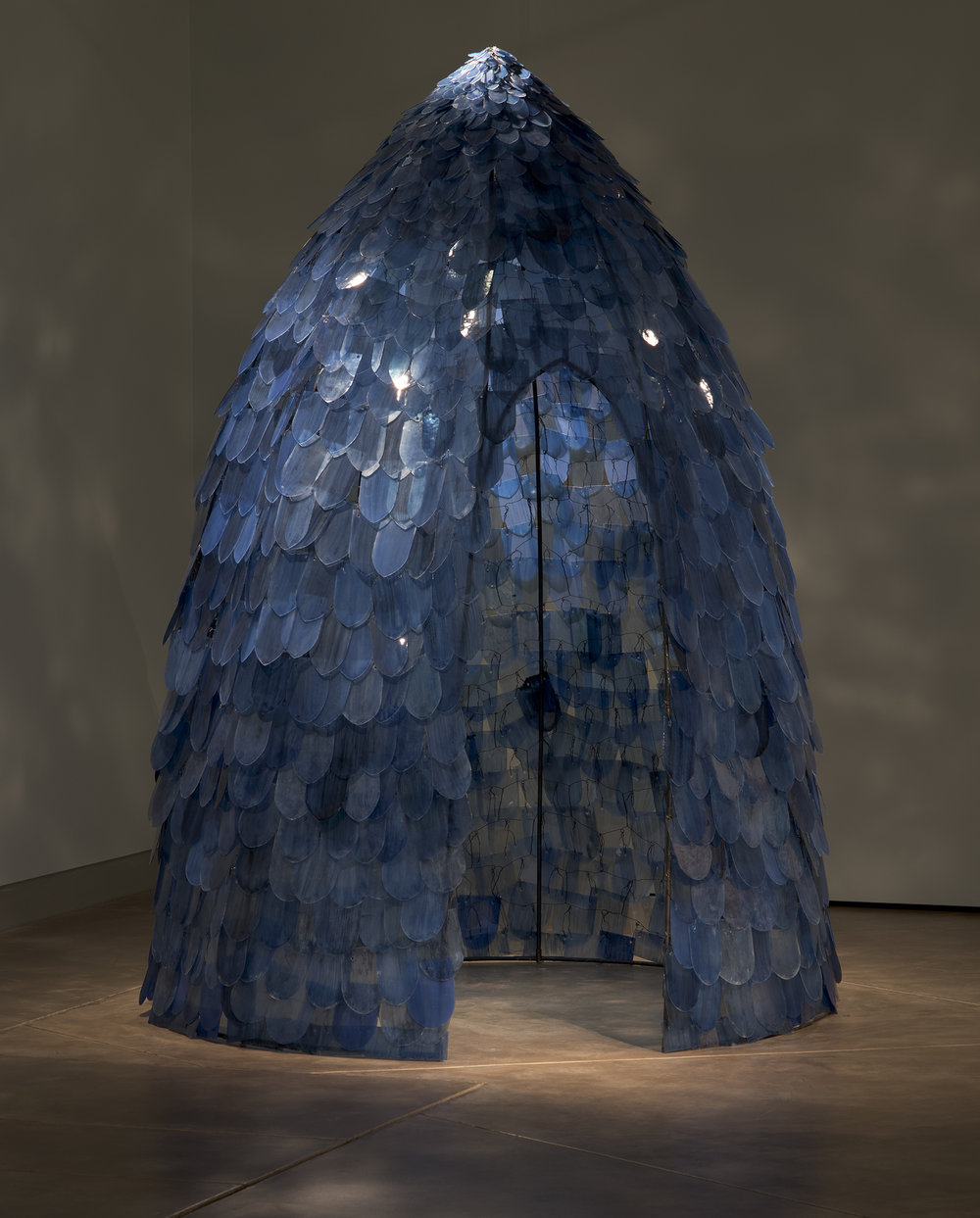 Kait Rhoads (American, born 1968).  Blue Dome,  1995. Single strength plate glass, cut, drilled and fired with glass enamels; then hung by steel wire onto a steel form. Collection of the artist. Photo courtesy of the artist.
