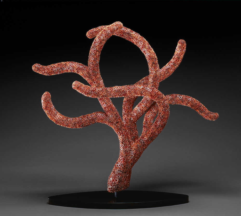 Kait Rhoads (American, born 1968).  Red Polyp,  2007. Blown glass, coldworked and fire-polished; copper and steel; 45 x 49 x 19 in. Collection of the artist. Photo courtesy of the artist.