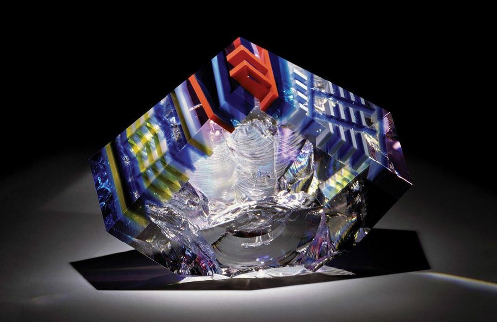 David Huchthausen (Ameircan, born 1951).  Implosions Sequence,  1993. Cut, fractured, laminated, and optically-polished glass; 10 x 11 x 8 in. Courtesy of Huchthausen Studio. Photo courtesy of the artist.