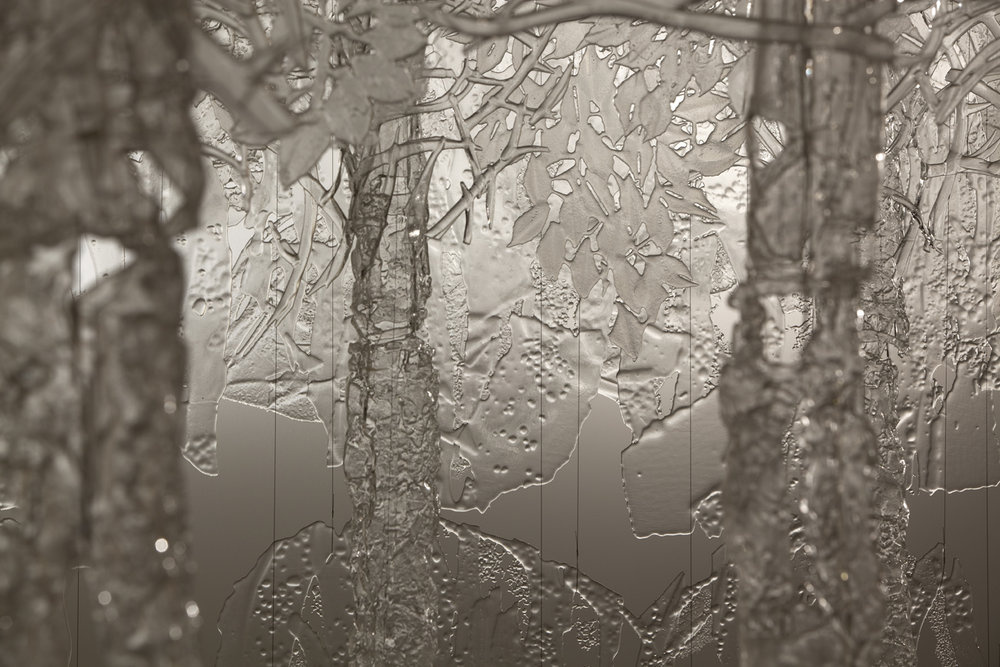 Ingalena Klenell (Swedish, born 1949) and Beth Lipman (American, born 1971);  Landscape  (detail), 2008-2010. Kiln-formed glass; 156 x 443 x 252 in. Collection of Museum of Glass, Tacoma, Washington, gift of the artists. Photo by Russell Johnson and Jeff Curtis.