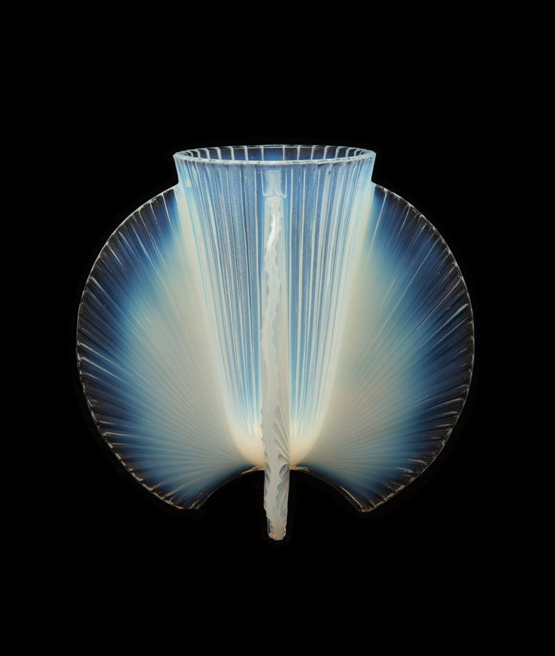 Pierre D'Avesn (French, 1901–1990);  Vase with spiral design, circa 1926-1931 . Press-molded opal glass; 7 1/2 x 8 1/4 in. Collection of David Huchthausen. Photo by Lloyd Shugart, Studio413.