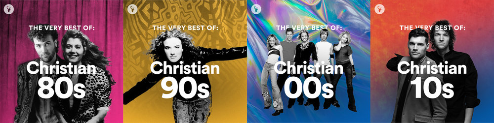 "Cover graphics for our ""Christian Hits: Decades"" playlist series"