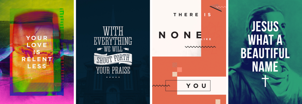 "4 of the original ""365 Worship Project"" posters. March 2013."