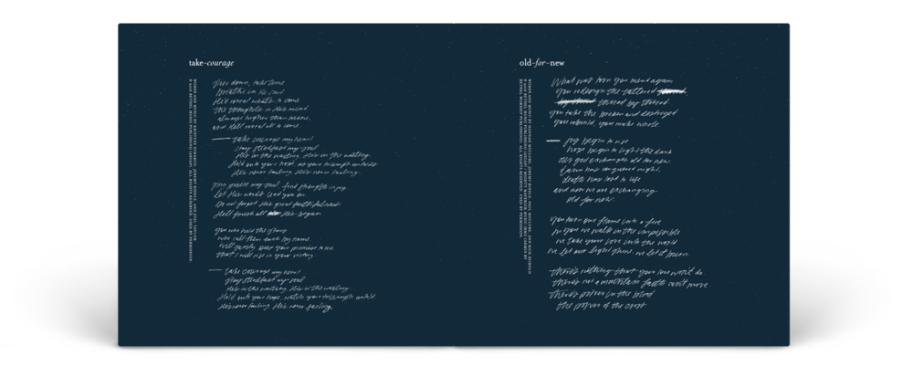 """An example spread from inside the booklet for """"Starlight"""""""