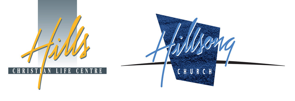 "Chris' original ""Hills CLC"" logo (left)   2000's update for ""Hillsong Church"" (right)"