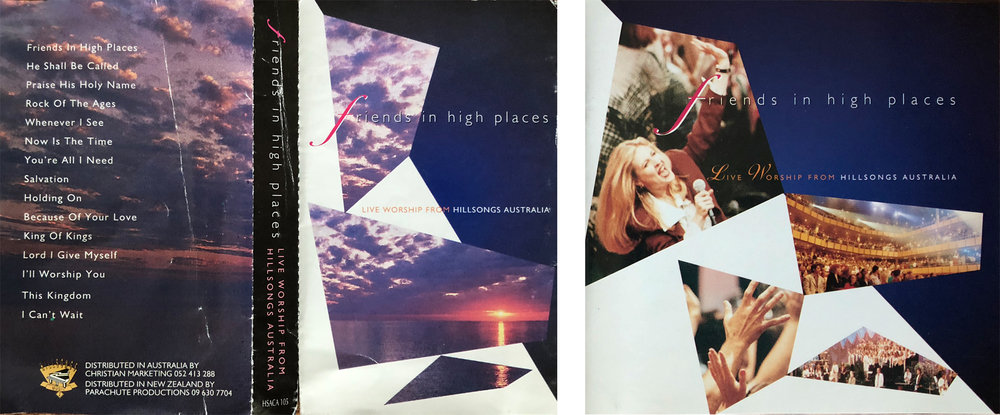 """Friends In High Places"" album artwork. Original design (cassette) featuring Ken Duncan's image (left). Revised album artwork from 1996 (CD) featuring live worship imagery and updated typography."