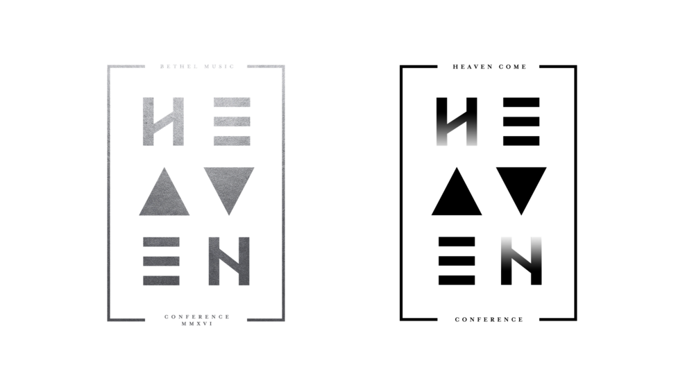"Logo development for ""Heaven Come Conference"". LEFT - Original logo designed in NZ, RIGHT - slightly tweaked with gradient letters."