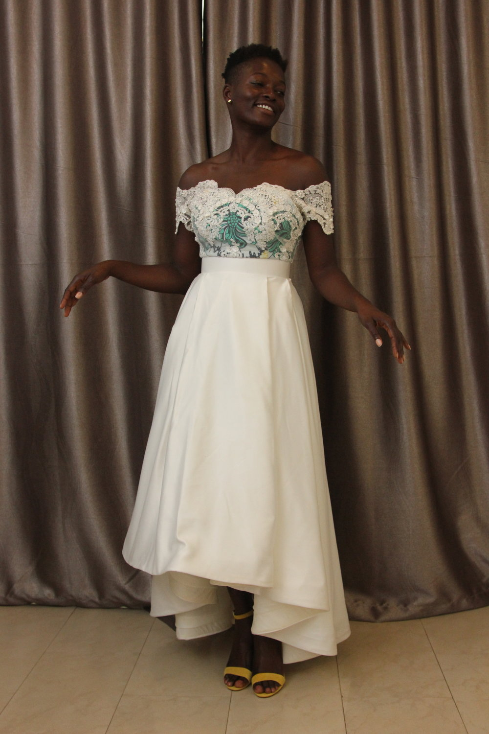 Chidiogo at her second dress fitting at the Wanger Ayu studio.