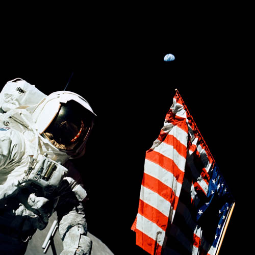 The Flag and Earth from the Moon NASA Photo