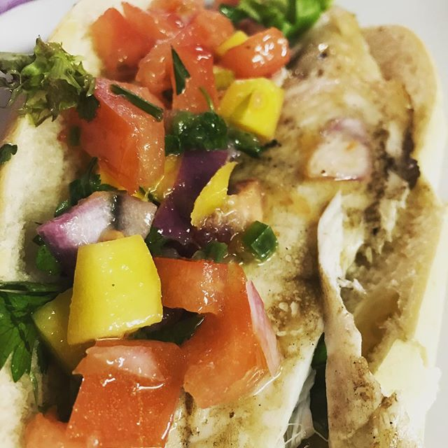 #Freshfish Friday's are back @megsaussiemilkbar we're trying out an Australian favourite, seared #barramundi with a fresh mango, blood orange citrus, jalapeño & herb salsa...and it comes with a free side today! Yay for Friday! Serving until 3pm. #freshfish #fishfriyay #mango
