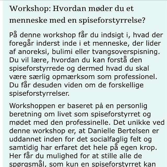 Særligt til fagfolk 😊Kom til workshop hos @danskpsykomoriskforening d27 september i København 😊 tilmeld jer på DAP hjemmeside  http://dap.dk/kurser-netvaerk/kurser/kurser-dap/spiseforstyrrelser . . . . . . . .  #spiseforstyrrelse #workshops #pædagog #socialpædagog #socialrådgiver #spiseforstyrrelser #mad #madogfølelser #diæt #bmi #krop #psyke #ansvarforegetliv #præstationssamfund #læge #psykomotoriskterapeut