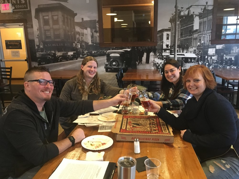 We met with Breck and Katie on a dreary, rainy January and shared our vision for a new space in downtown...of course we did it over a beer at Pigeon Hill!
