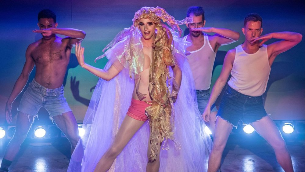 Lyle Colby Mackston, center, performs Venus with, from left, Marquell Edward Clayton, John Paul Batista and Jamie Pierce. Photo by Matthew Brian Denman. queen of teh desert.jpg