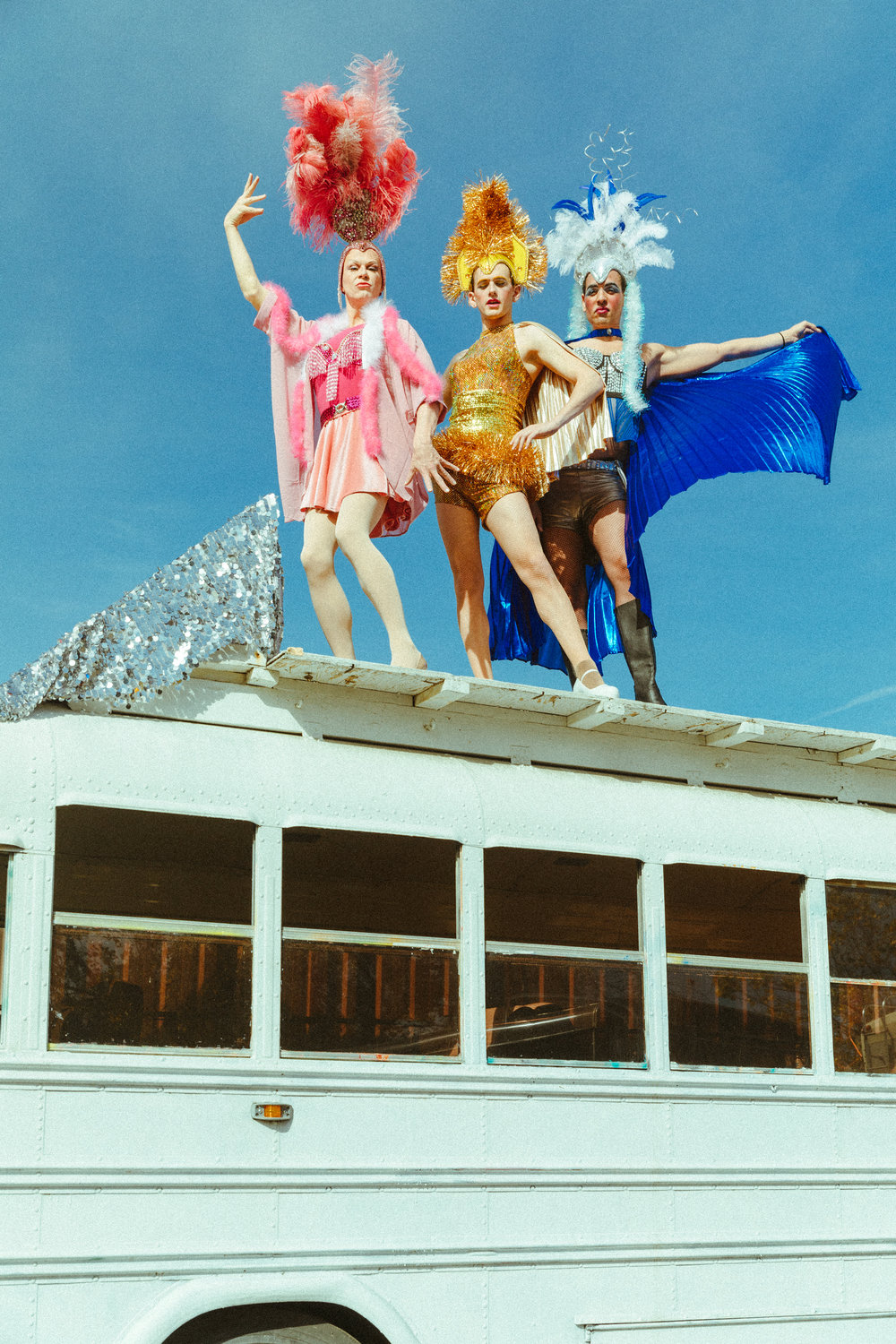 Tad Coughenour, Lyle Colby Mackston & Mario Burrell in Priscilla, Queen of the Desert. Photo by Mae Koo