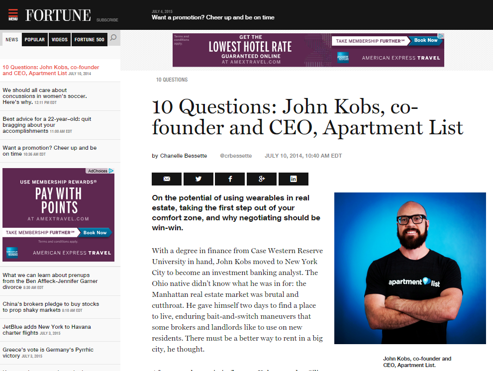 Fortune.com interviews John  - July 2014 | Chanelle Bessette sits down with John to interview him on the latest developments with Apartment ListLINK