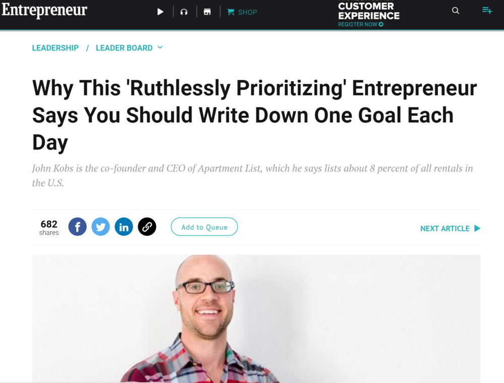 Entrepreneur.com interviews John  - August 2017 | Rose Leadem sits down with John Kobs for his takes on productivity and focusLINK