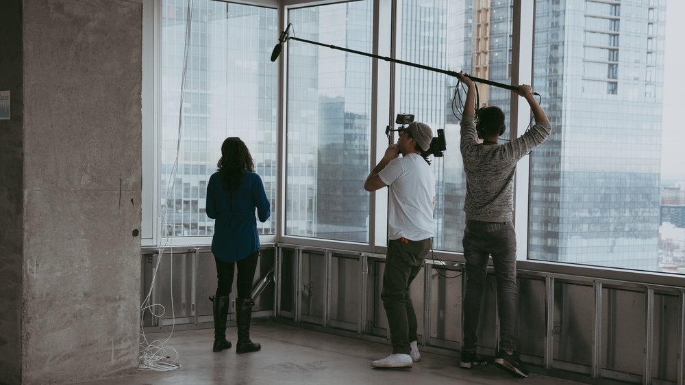 BTS, on set with Roya Yazdanmehr
