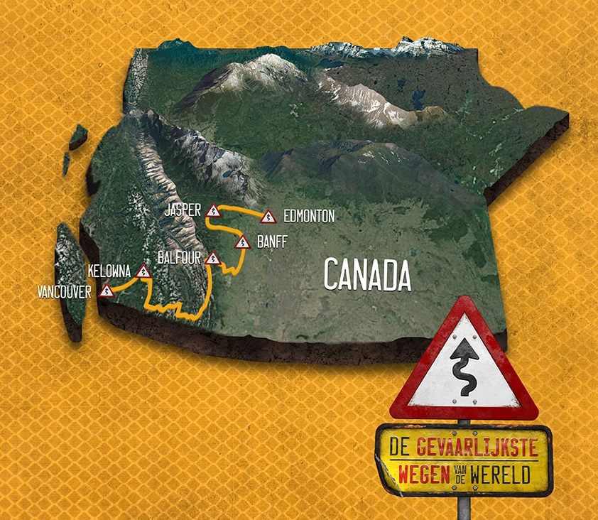 Map courtesy of  NPO NL : +2000km on the road, from Edmonton to Vancouver