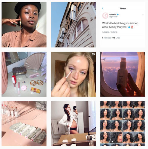 """Instagram is Glossier's #1 platform and the heart of their """"retail-tainment"""" social strategy. They receive 5 customer direct messages per minute. And they proudly showcase how their customers really use their products."""