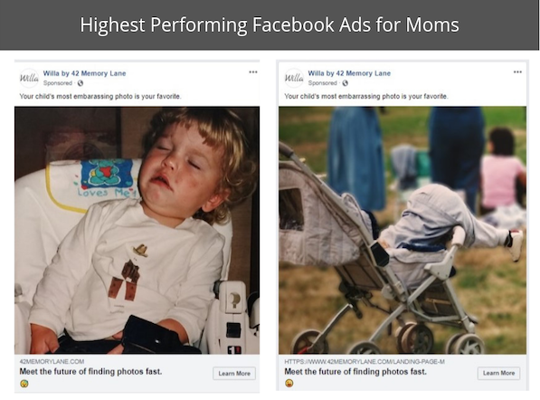 These two Facebook ads far outperformed the others in driving clicks to the landing page. We believe it's because of the humor, and that these are the kind of moments you most want to save and remember.