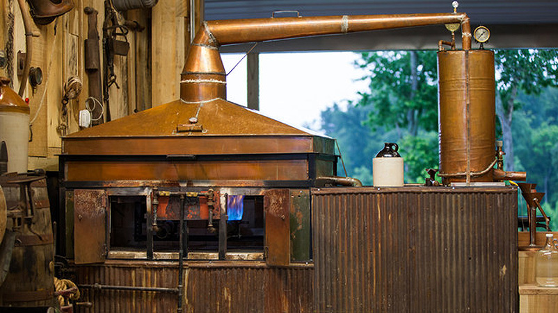 "Casey Jones Distillery, Hopkinsville, Kentucky-based craft distillery, uses this still handcrafted by Master Distiller Arlon ""AJ"" Jones. The design is that of his grandfather's, moonshine legend Casey Jones."
