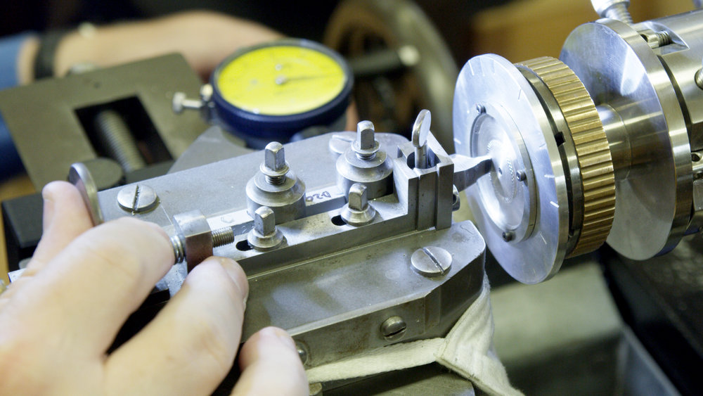 Roland begins engraving a blank Argentium Silver watch dial.