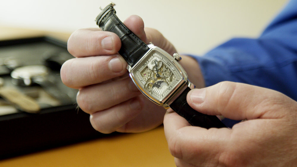 Roland's beautiful engine-turned finishing is seen here on  RGM's Caliber 20 skeleton dial.