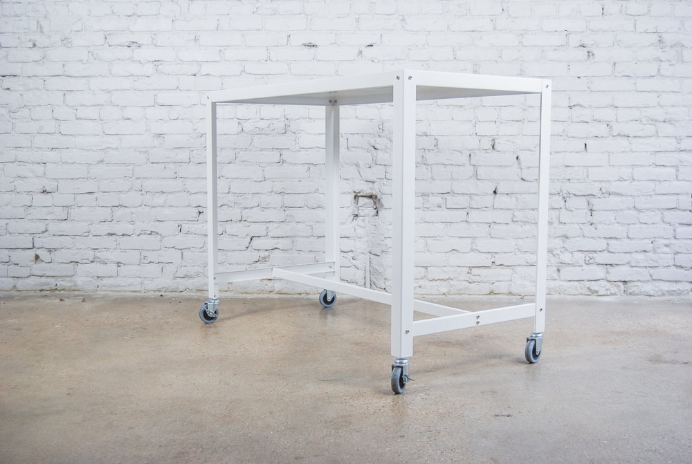 Tall White Rolling Cart